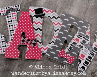 Mustache  Bow Tie and Top Hat Little Man Theme - Custom Letters, Wooden Nursery Letters  (mustache, bow tie, top hat, red, black) 9 inch