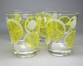 Fred Press lemon glasses . set of four , mid-century modern . barware