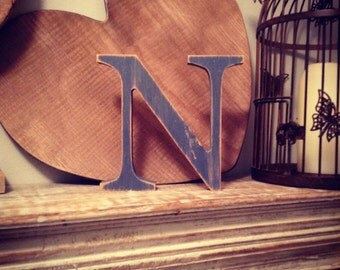 Painted Wooden Letter - Large N-Times Roman Font, 40cm high, 16 inch, any colour, wall letter, wall decor, 18mm - various colours & finishes