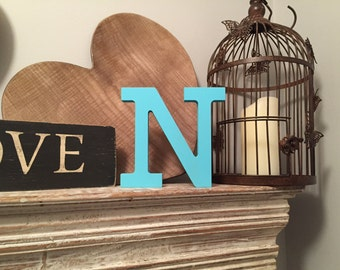 Hand-painted Wooden Letter N - Freestanding - Rockwell Font - Various sizes, finishes and colours
