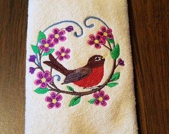 Robin Embroidered Tea Towel