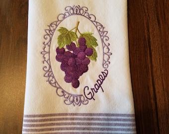 Purple Embroidered Tea Towel