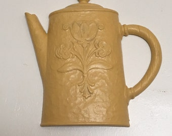 Country Cottage Kitchen Decor - Coffeepot/Tea Pot - Up ycled in Golden Yellow