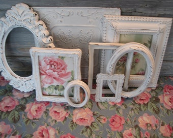 Shabby Chic Picture Frames & Metal Wall Tile - Ornate 8 Piece Collection of Wall Decor - Distressed in Linen White