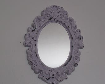 Petite Shabby Chic Oval Framed Wall Mirror - Adorable Cottage Farmhouse Decor - Girls Room Mirror Distressed Lilac/Lavender