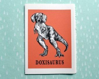 """Doxisaurus Greeting Card, Daschund + TRex Hybrid Animal, 5x7"""" Blank Card, Portland OR, Funny Doxin Gift"""