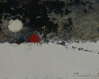 Winter Lasting — Oil Painting, Landscape Oil Painting, Original Landscape Painting, Oil Painting, Abstract Painting, Fine Art, 5 x 7
