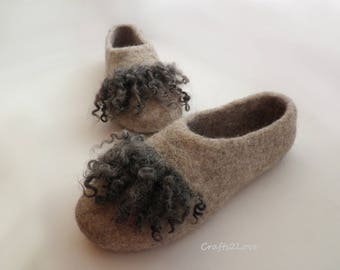 Wool slippers, Felted slippers, Women slippers, Warm bedroom slippers, Minimalist, Natural wool -Made to order-