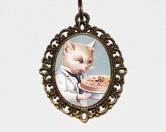 Cat Necklace, Wedding, Birthday, Cake, Victorian Cats, Bronze Oval Pendant