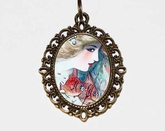 Fish Goddess Necklace, Ocean, Sea, Nautical Jewelry, Mermaid, Bronze Oval Pendant