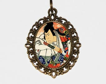 Samurai Necklace, Japanese Woodblock Art, Ukiyo-e, Gigadō Ashiyuki, Warrior, Bronze Oval Pendant