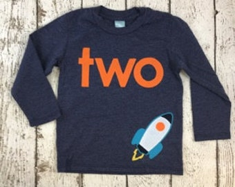 Rocket Ship Spaceship Birthday Shirt Tee on Organic blend birthday shirt customize colors Blast off, space party, planet party, Buzz