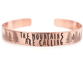 mens bracelet, mens jewelry, copper bracelet, mountain, tree, mens gift, boyfriend gift, husband gift, son gift, custom hand stamped