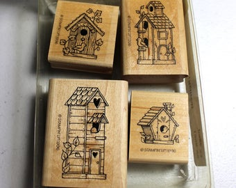 Birdhouse Mini Rubber Stamp Set from Stampin Up (set of 4 stamps from 1998 or 1999)