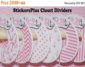 BIG SALE 6 Baby Closet Dividers Organizers Assembled or DIY PreCut Pink Anchor Nautical Girl Baby Shower Nursery Gift Clothes Size Organizer