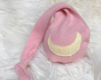 "Newborn Upcycled Knot Hat, ""Goodnight Moon"" Night Cap, Newborn Photography Prop, Baby Girl, Ready To Ship, Baby Hat"