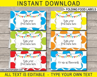 Polkadot Food Labels - Theme Party - Food Buffet Tags - Placecards - Printable Party Decorations - INSTANT DOWNLOAD - EDITABLE text