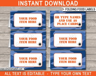 Blue Camo Food Labels - Camo Theme Party - Buffet Tags - Camo Placecards - Printable Party Decorations - INSTANT DOWNLOAD with EDITABLE text