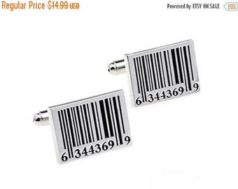 ON SALE Barcode Cufflinks - Groomsmen Gift - Men's Jewelry - Gift Box Included
