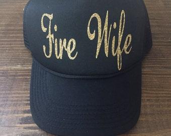 Fire Wife Trucker Hat Firefighter Wife Firefighter Girlfriend Fire Support Women's Trucker Hat Glitter Firefighter Trucker Hats