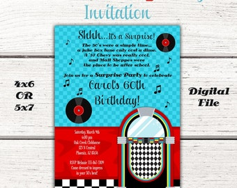 1950's Birthday Party Invitation, Fifties, 50's, sock hop, Diner, Jukebox, Red & Turquoise, 50's Party Invitation, Sock Hop Invite