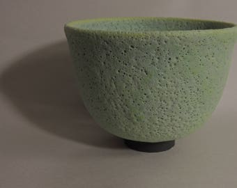 Mid Century Modern Crater Glazed Bowl (green)
