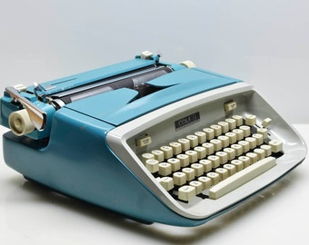 Vintage 1965 Royal-Cole Vanguard Typewriter in Blue, Mod Styling, Superb Working Condition, New Ribbon