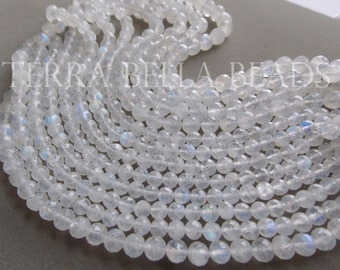 """7"""" strand RAINBOW MOONSTONE faceted gem stone ROUND rondelle beads 6.5mm - 8mm"""