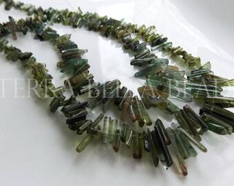 "14"" strand shaded GREEN TOURMALINE gem stone crystal stick beads 5mm - 13mm"