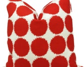 Schumacher Studio Bon Indoor Outdoor Red Fuzz II Pillow Cover, 18x18, 20x20, 22x22, 24x24, 26x26 or Lumbar Pillow Cover, Throw Pillow