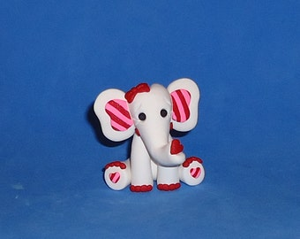 Polymer Clay White Valentine Elephant with Red Toenails