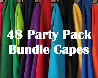 48 KIDS SUPERHERO CAPES Bundle Assorted colors Party Pack You Pick the Color  Bulk order for kids birthday party gift bags