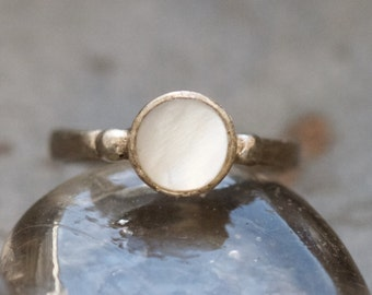 White Tiger's Eye Ring - Sterling Silver signe tRing - Size 6.5 - Vintage Boho Jewelry