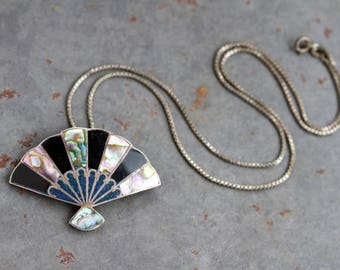Art Deco Fan Necklace - Sterling Silver and Abalone Seashell Pendant on Chain - Made in Mexico