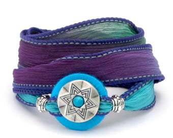 Turquoise Star, Whirly Wrap, Silk Ribbon Wrap Bracelet, turquoise, violet emerald, silver southwest star button, secure magnet,