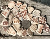 Brown Patterned Beach Pottery, Two Sided Colors, Rust Browns, Patterned Pendants, Charms or Bracelets, Pendants, Perfect Sea Worn Scottish