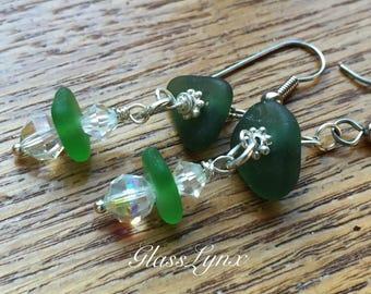 Hawaiian Sea Glass and Aurora Borealis Beads, Dangle Earrings, Sparkly Beads, Green Earrings, Beach Style Handmade by GlassLynx
