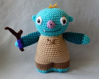 """Made to order, Hand crocheted Similar Large Wally Trollman from Wallykazam with Stick monster Amigurumi Doll 9"""" doll"""