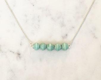 Aqua Paper Bead Bar Necklace ~ Silver