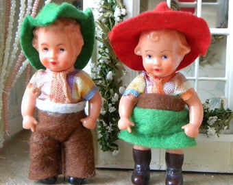 lovely vintage couple celluloid dolls
