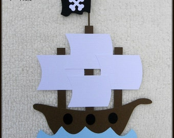 Die Cut Pirate Ship Premade Paper Piecing Embellishment for Card Making Scrapbook or Paper Crafts