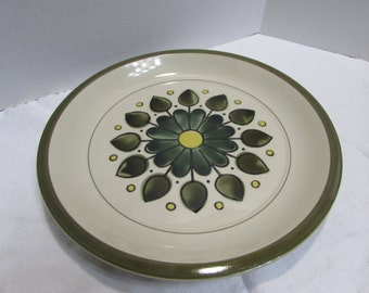 Montego Stoneware Serving Platter - Mod green and yellow floral pattern 4113 - Large Montego Platter