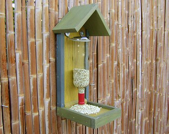 Bottle BIRD FEEDER, Rustic Hand Painted, with CLEAR Wine Bottle, (bird seed not included) Ready to Ship