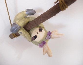 ooak Hand-made sloth ornament 56