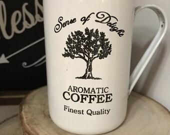 White farmhouse enamel coffee cup fixer upper style