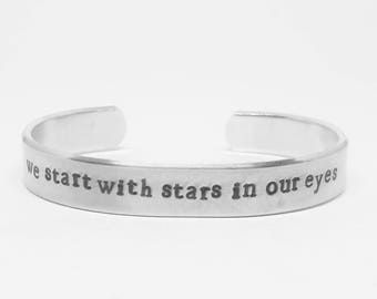 We start with stars in our eyes: Hand Stamped Aluminum Dear Evan Hansen cuff bracelet by fandomonium