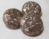 """Vintage buttons, set of 3, speckled top with pink, green beige confetti look. Metal loop back. 0.75""""ins across, 3 matched.UNK12.1-16.8-25.12"""
