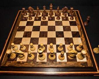 Stunning Premium Handcrafted Exotic Wood Competition Chess Set Checkers Set Hardwood Chess Birthday Gift Christmas Gift Anniversary Gift