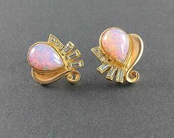 Pink Opal Earrings, Baguette Rhinestone Earrings, Teardrop Fire Opal Gold 1940s vintage jewelry