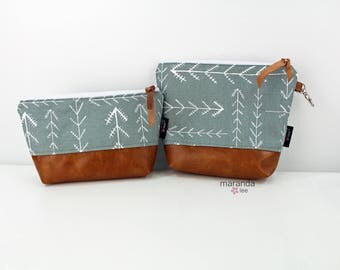 AVA Clutch -2 Sizes - Native GreyPU Leather Cosmetic  READY to SHIp Diaper bag Travel Make Up Zipper Pouch